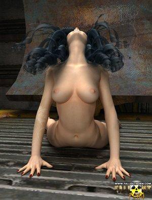 Flexible girl dark hair