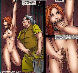 Hanged upside slave babe