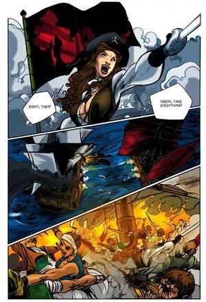 Gorgeous pirate girl cartoon