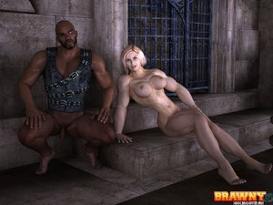 Blonde muscular babe swarthy