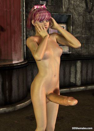 Stark-naked 3D shemale with monster cock