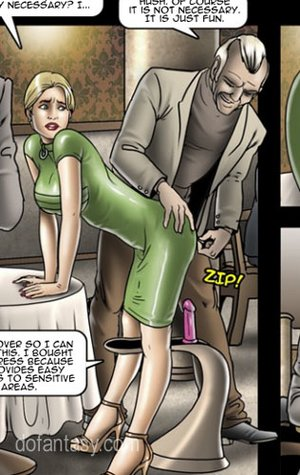 Blonde whore in a green dress humiliated on public