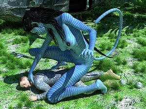 Blue-skinned busty monster navi