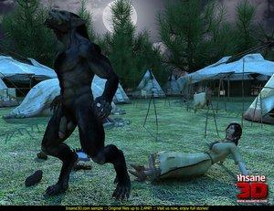 Big black werewolf shoves