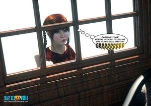 Teen girl plaits spying