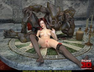 Ginger gal in black stockings fucked by a werewolf