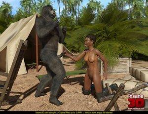 Horny gorilla fucks super