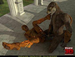 Horny bear fucks a female tiger slut with passion