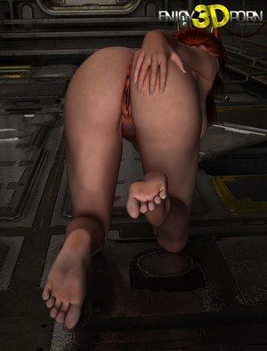 Redhead strips spaceship floor