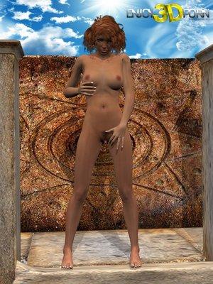 Tanned ginger girl fondles