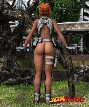 Cyborg chick soldier pleasures
