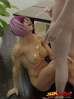 Purple-haired babe pussy fingered