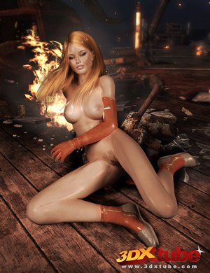 Good-looking ginger long gloves