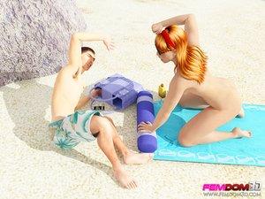 Redhead catches pervert beach