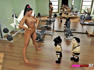 Ponytailed giantess gym dominates