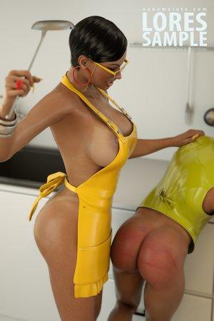 Swarthy mistress yellow latex