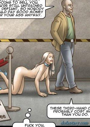Blonde leashed walked dogslave
