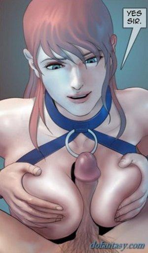 Brunette blue master titjob