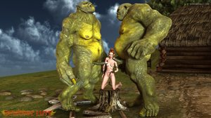 Redhead beauty and two green giants have a 3some
