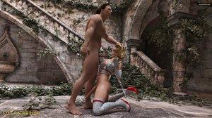 Busty 3D shemale enjoys hardcore anal banging