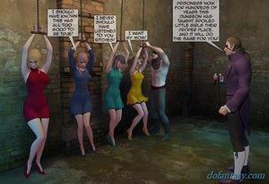 Handcuffed females waiting revenge