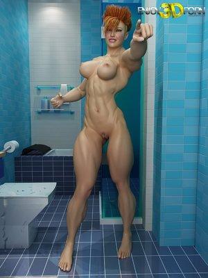 Naked bathroom fuck