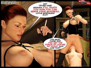 Submissive blonde knees mistresss